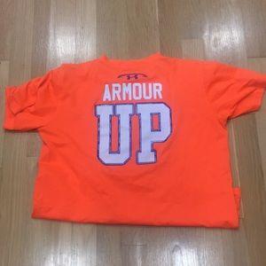 Under Armour heatgear orange blue sz L Shirt nice